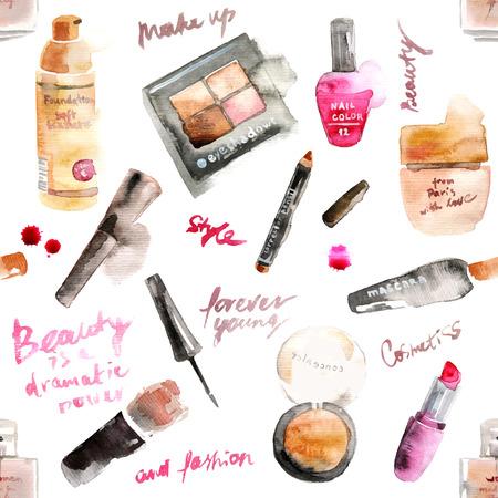 Glamoureuze make-up aquarel cosmetica achtergrond Stock Illustratie