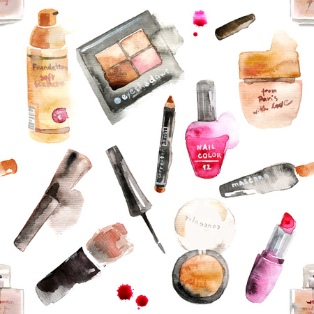 maquillage: Glamorous maquillage cosmétiques fond d'aquarelle