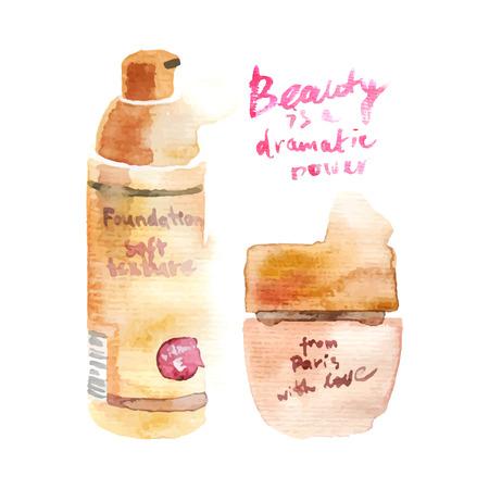 glamorous: Glamorous make up watercolor cosmetics background Illustration