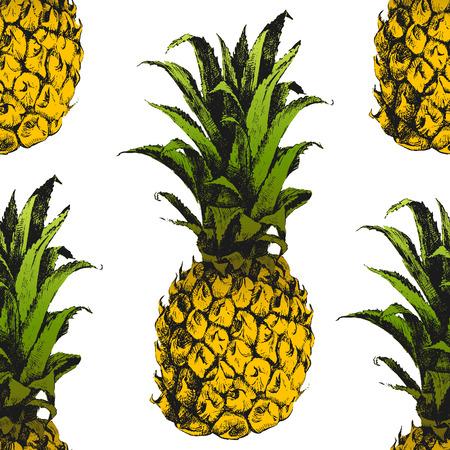 手描き下ろしパイナップルのシームレス パターン  イラスト・ベクター素材
