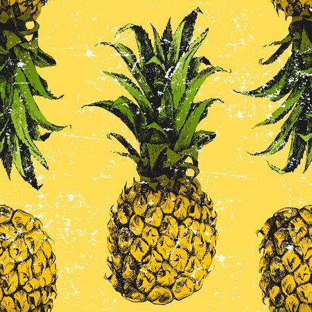 Hand drawn pineapple seamless pattern