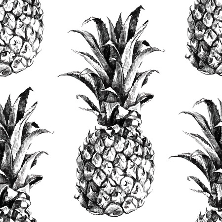 ananas: Hand drawn pineapple seamless pattern