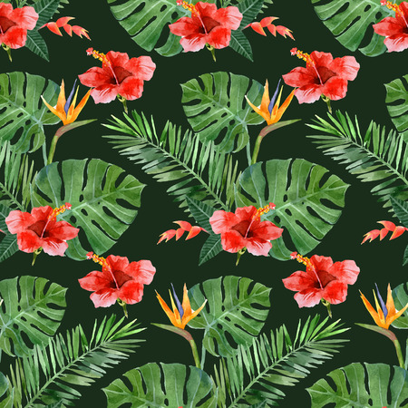 heliconia: hand drawn watercolor tropical plants seamless