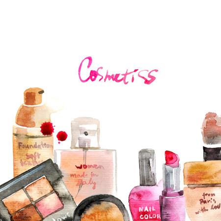 productos de belleza: Glamorous componen cosm�ticos acuarela de fondo Vectores