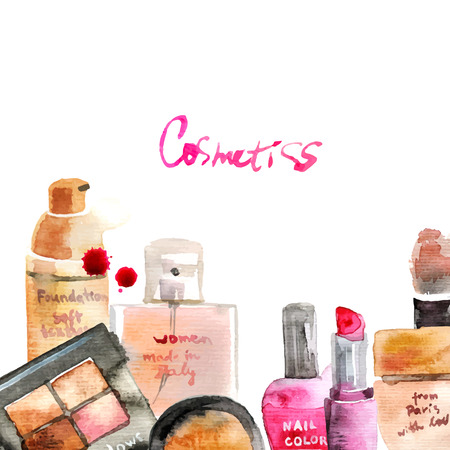 skin care products: Glamorous make up watercolor cosmetics background Illustration