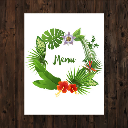 Background with menu text in tropical wreath on wooden background Vector