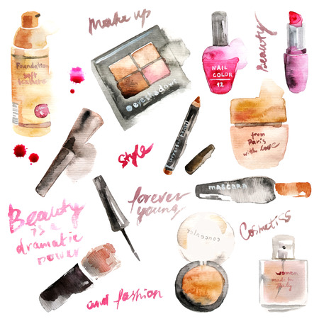 maquillage: Glamorous maquillage cosmétiques aquarelle