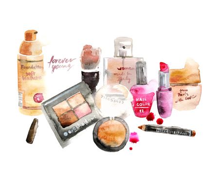 Glamorous make up watercolor cosmetics background 일러스트