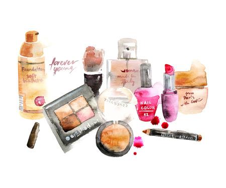 Glamorous make up watercolor cosmetics background Illustration