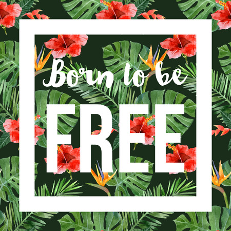 foliage frond: hand drawn watercolor tropical background with slogan Illustration