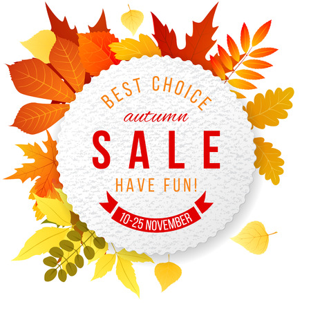 bage: Sales banner with autumn leaves