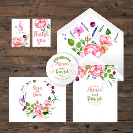 수채화 꽃 요소와 웨딩 카드의 집합