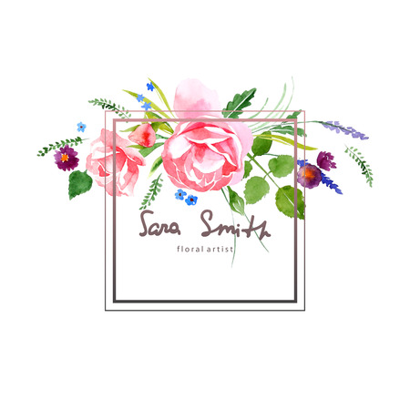 Watercolor floral card for your designs