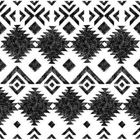 tribal: Black and white hand drawn tribal seamless pattern Illustration