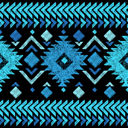 Bright hand drawn tribal seamless pattern