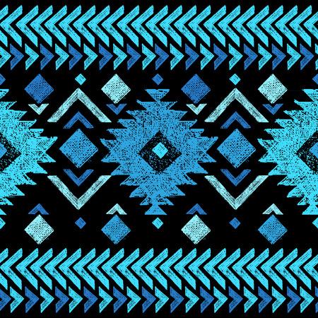 turquesa: Mano brillante dibuja el modelo inconsútil tribal Vectores