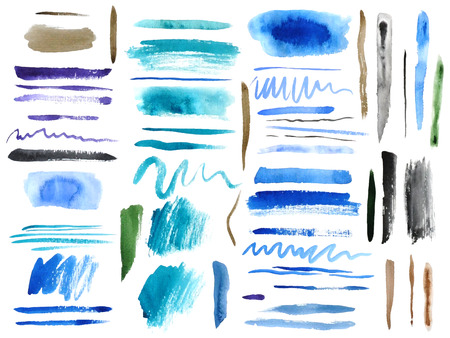 Large set of colorful watercolor brush strokes Vector
