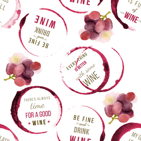 Seamless pattern with wine stains and type designs