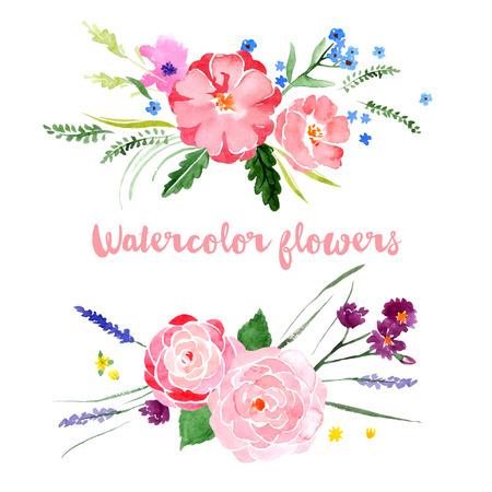 jardines con flores: Fronteras florales de la acuarela en el fondo blanco