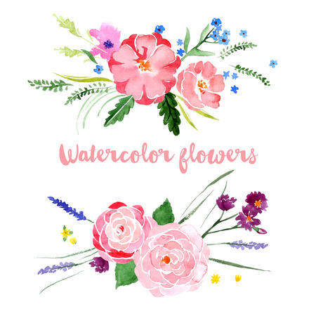 botanical: Watercolor floral borders on white background