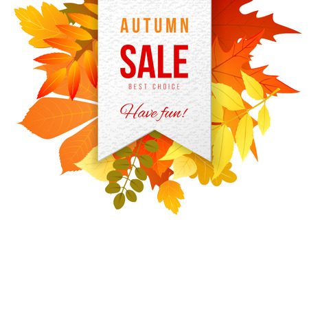 autumn background: Sales banner with autumn leaves