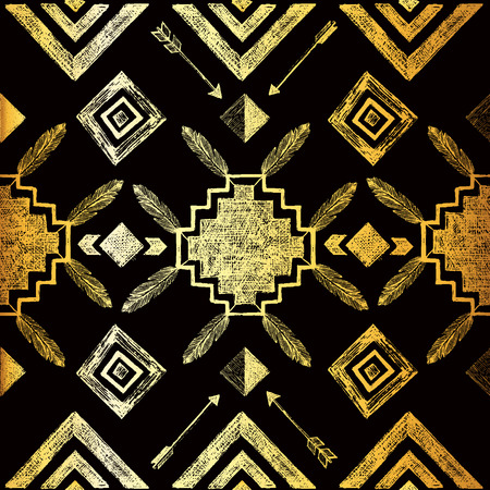 Golden hand drawn tribal seamless pattern 矢量图像