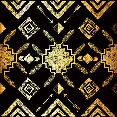 Golden hand drawn tribal seamless pattern Stock Illustratie