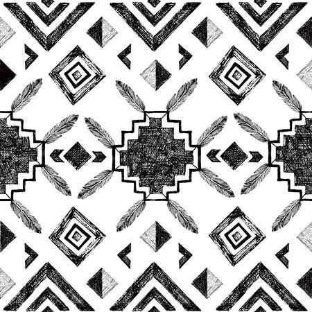 Black and white hand drawn tribal seamless pattern 矢量图像