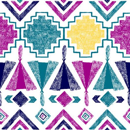 american dream: Bright hand drawn tribal seamless pattern
