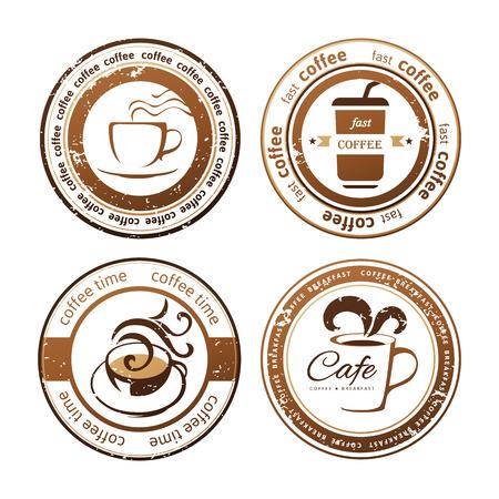 decoratieve koffie stempels op witte achtergrond Stock Illustratie