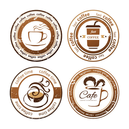 decorative coffee stamps over white background 向量圖像