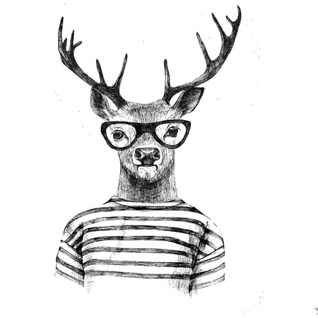man with glasses: Hand drawn dressed up deer in hipster style