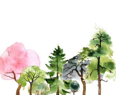 pine green: Hand drawn watercolor trees over white background