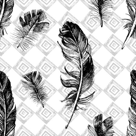 black feather: seamless pattern with hand drawn feathers on geometrical background