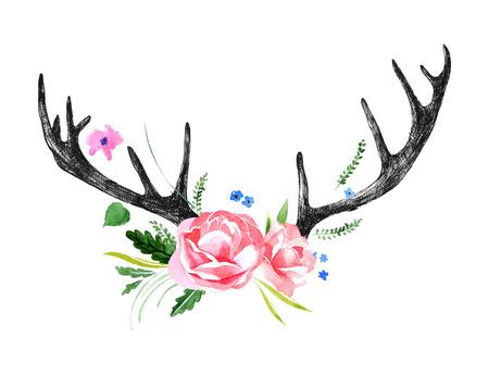 Disegnati a mano corna di cervo con i fiori ad acquerello Archivio Fotografico - 42021818