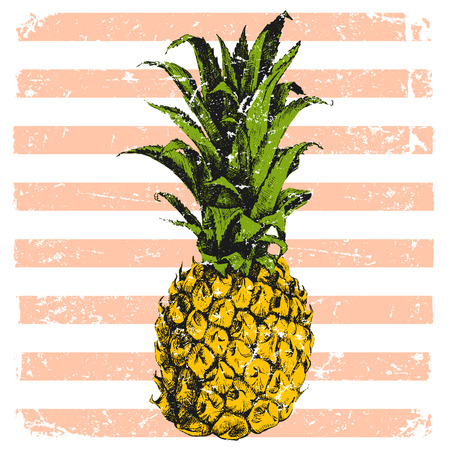 Disegnato a mano ananas luminoso su sfondo a righe Archivio Fotografico - 42022056