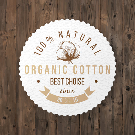 cotton bud: Organic cotton round label with type design