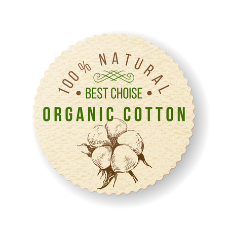 Étiquette ronde de coton biologique avec un design de type