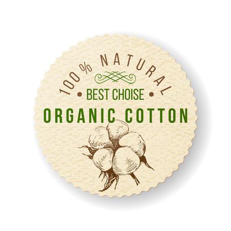 organic cotton: Cotone Etichetta rotonda organico con tipo di costruzione Vettoriali