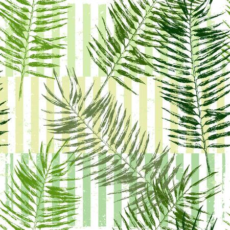 backgrund: hand drawn tropical leaves seamless on striped geometry backgrund