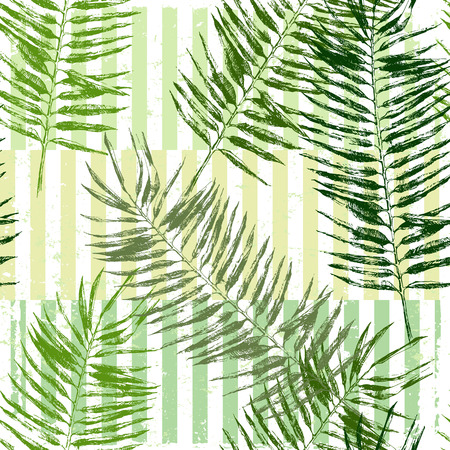 hand drawn tropical leaves seamless on striped geometry backgrund