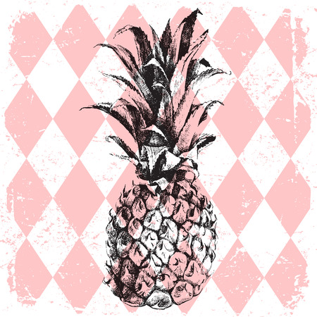 hand drawn pineapple on rhombus background