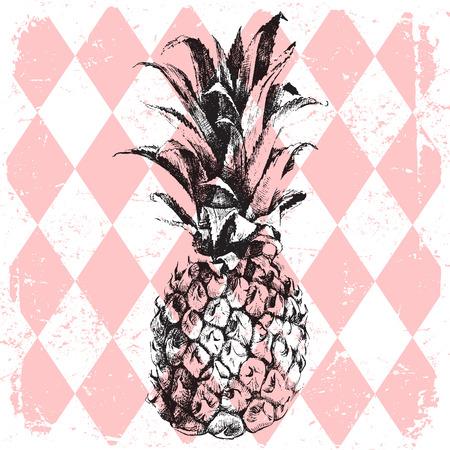 hand drawn pineapple on rhombus background