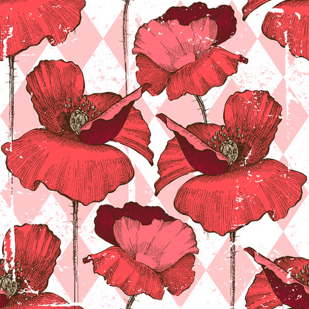 seamless ornament with poppy flowers over geometry background