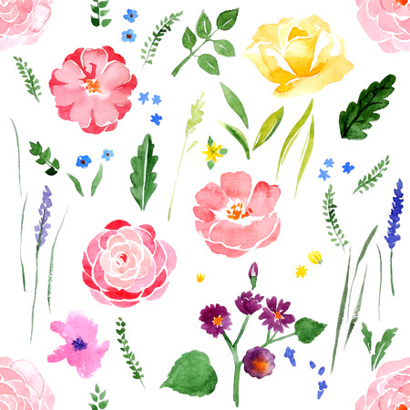 watercolor floral seamless pattern on white background