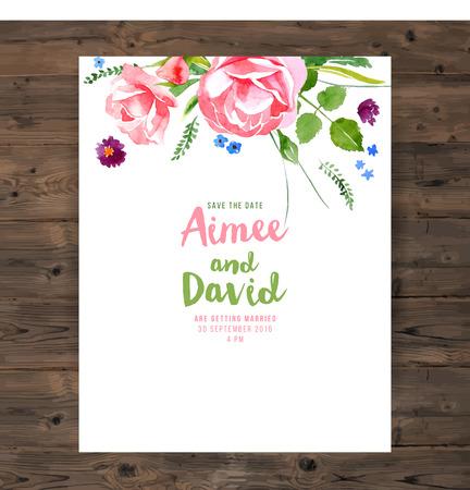 Carte de mariage avec des éléments floraux d'aquarelle Banque d'images - 42038370