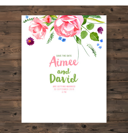 wedding card with watercolor floral elements