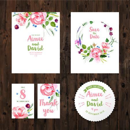 나무 배경에 수채화 꽃 웨딩 카드