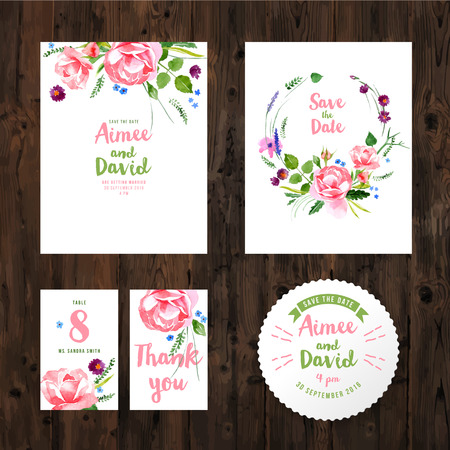 Wedding cards with watercolor flowers on wooden background Illustration