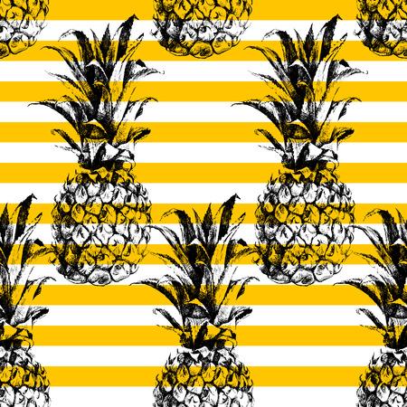 Hand drawn striped pineapple seamless pattern